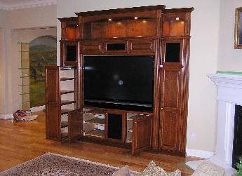 Beautiful Cherry Entertainment Center With Extra Large Vertical Pull Outs For CD/DVd  Storage
